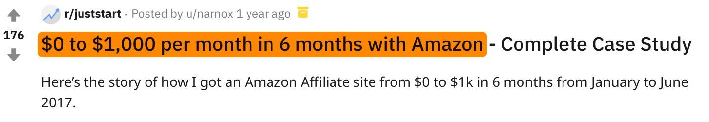 1 amazon affiliate site success
