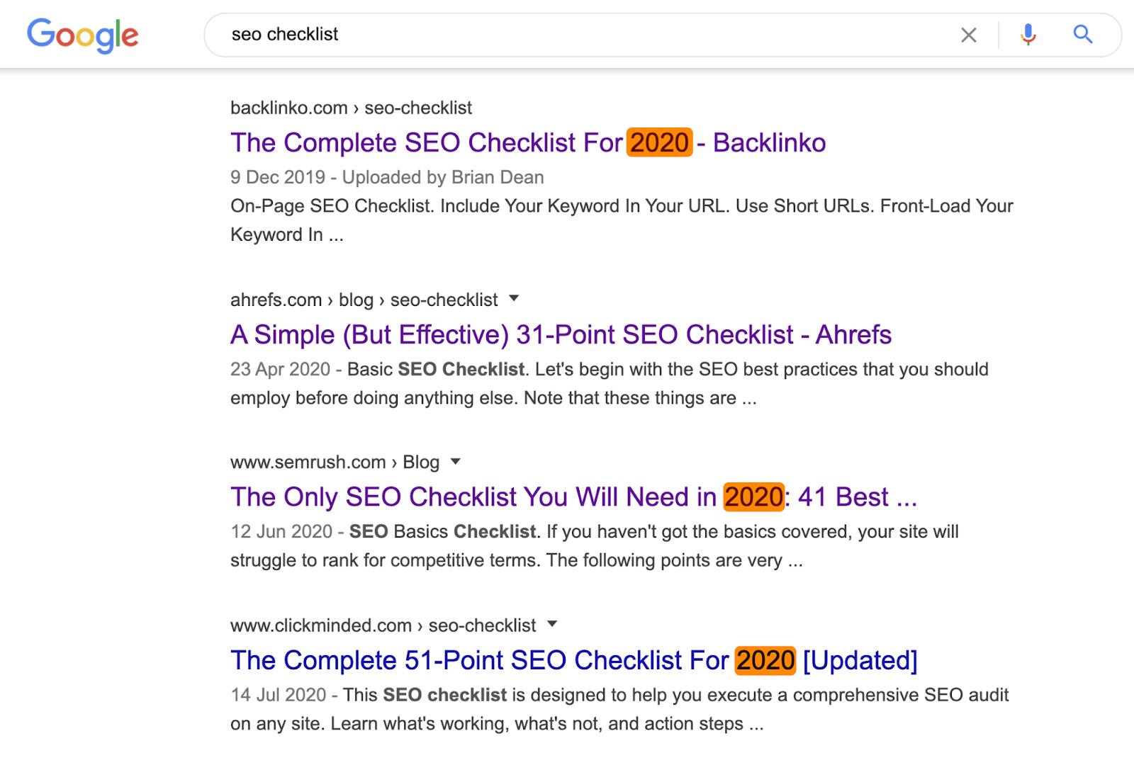 10 seo checklist serp content format