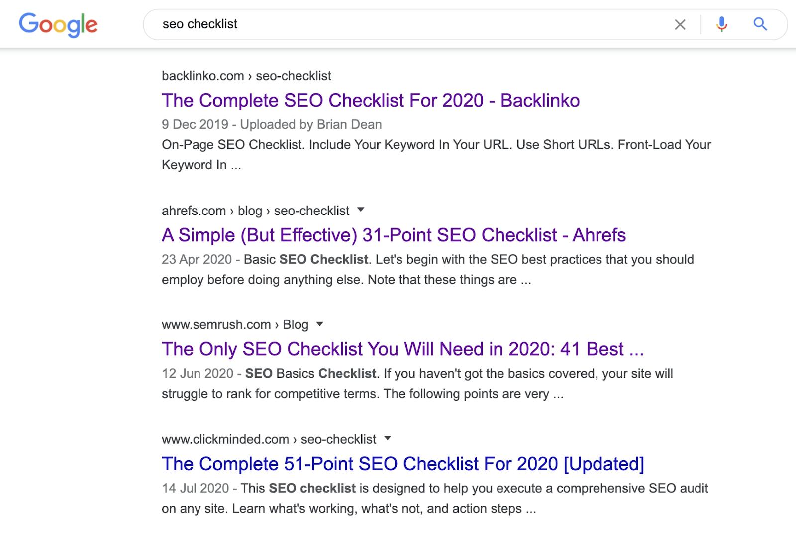 8 seo checklist serp content type