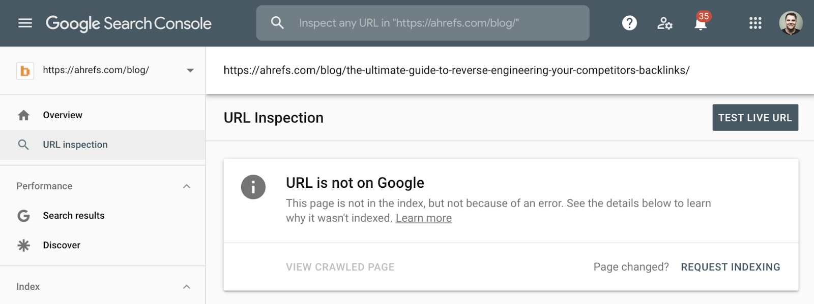 6 url is not on google