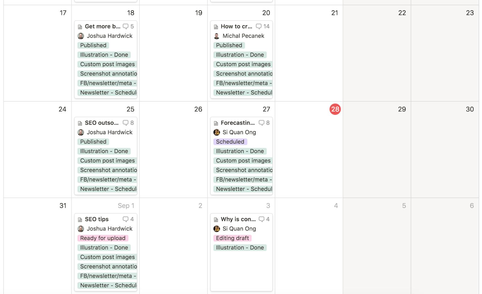 7 content calendar