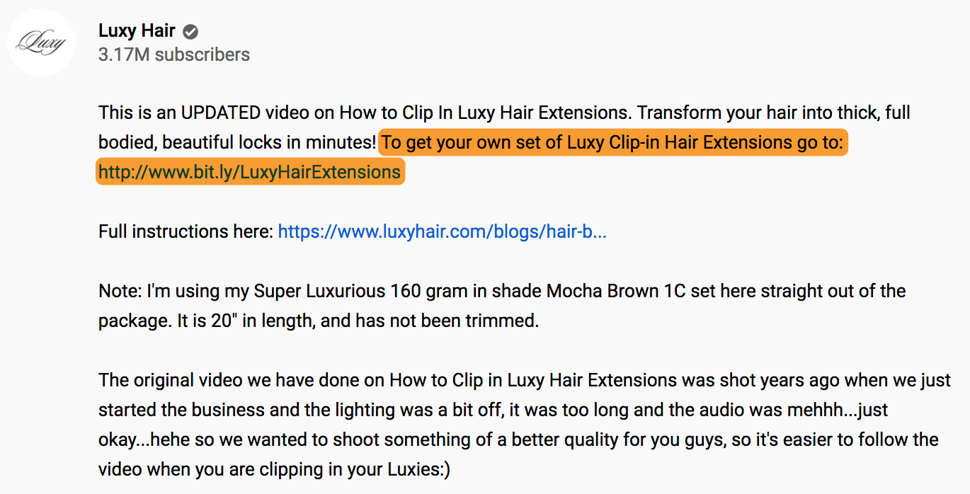 7 luxy hair youtube description