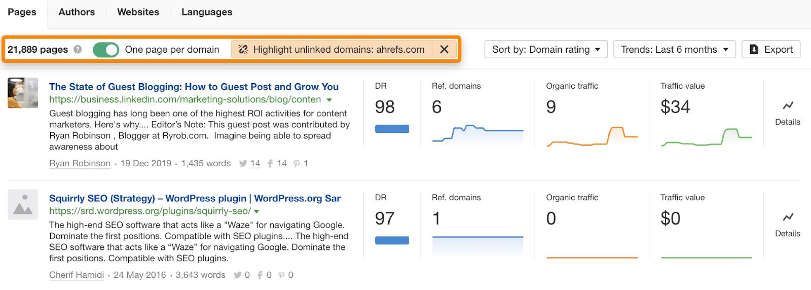 20 content explorer unlinked domains