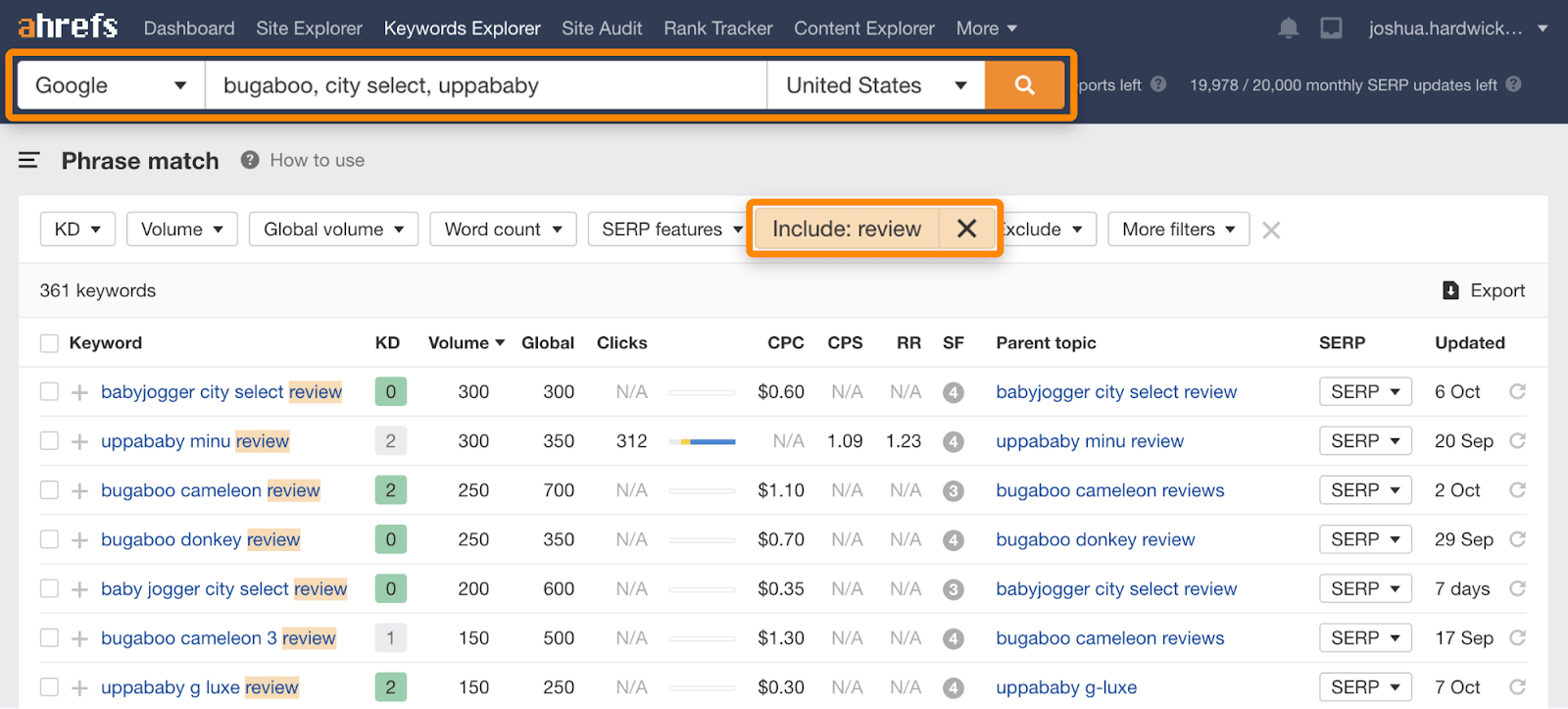 8 review keywords