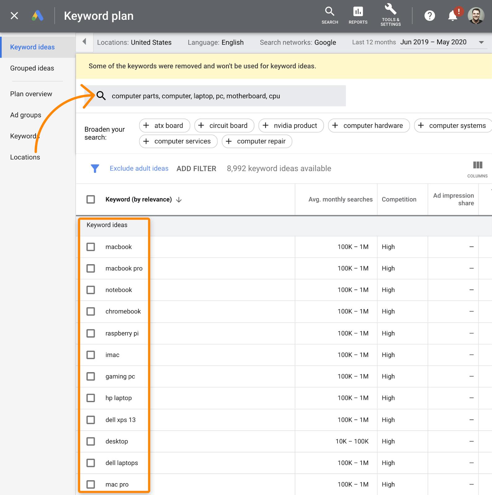 9 google keyword planner