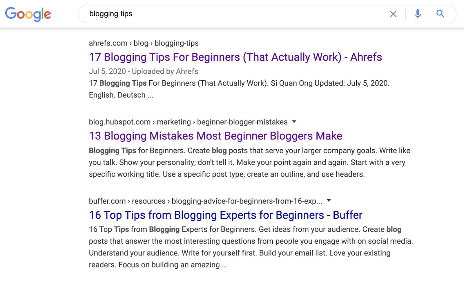 13 blogging tips serps