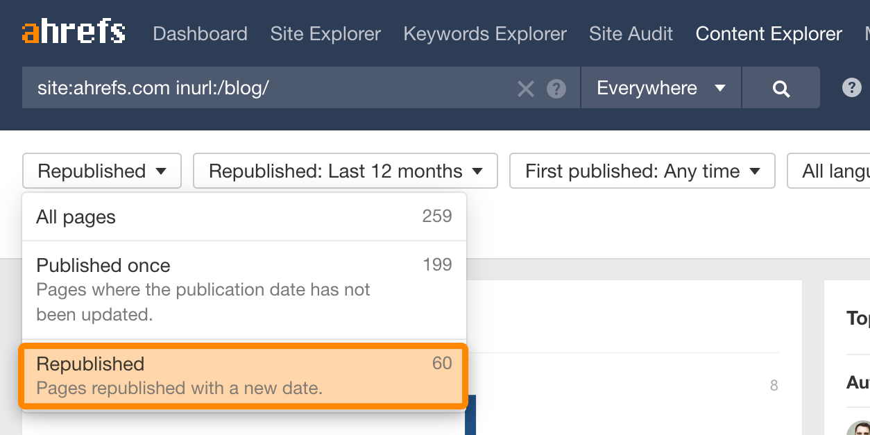19 republished content explorer