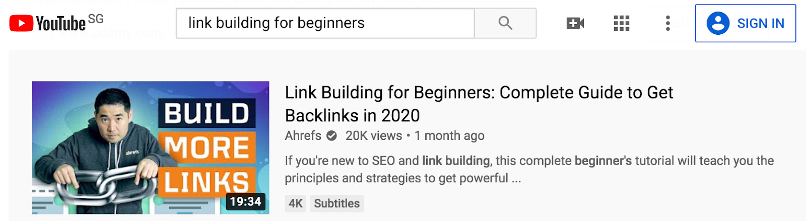 youtube link building ahrefs