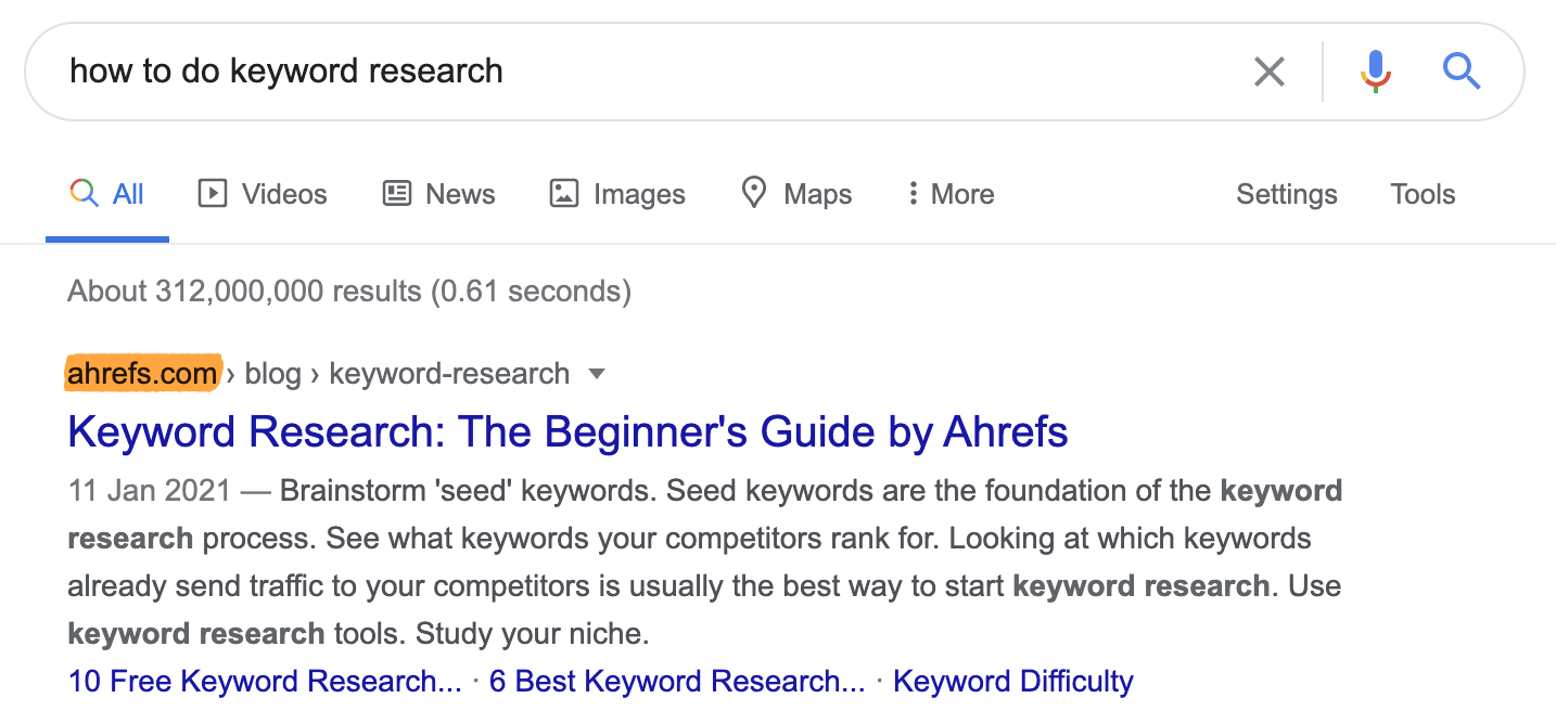 4 how to do keyword research serp
