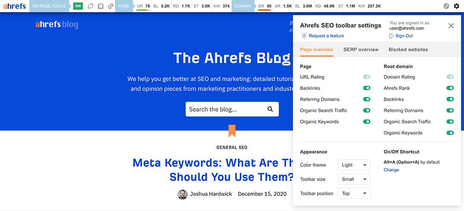 11 ahrefs toolbar