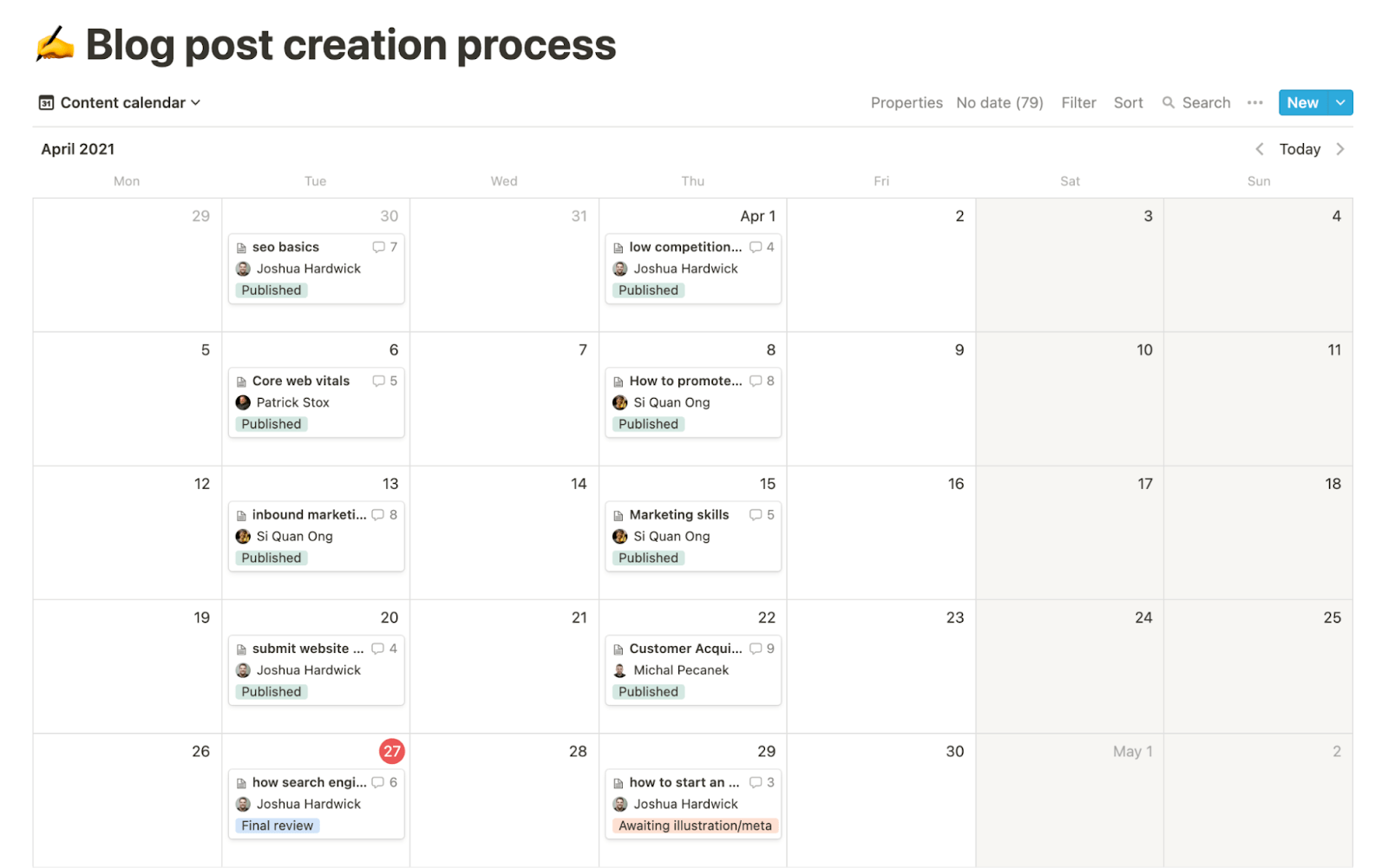 1 ahrefs content calendar