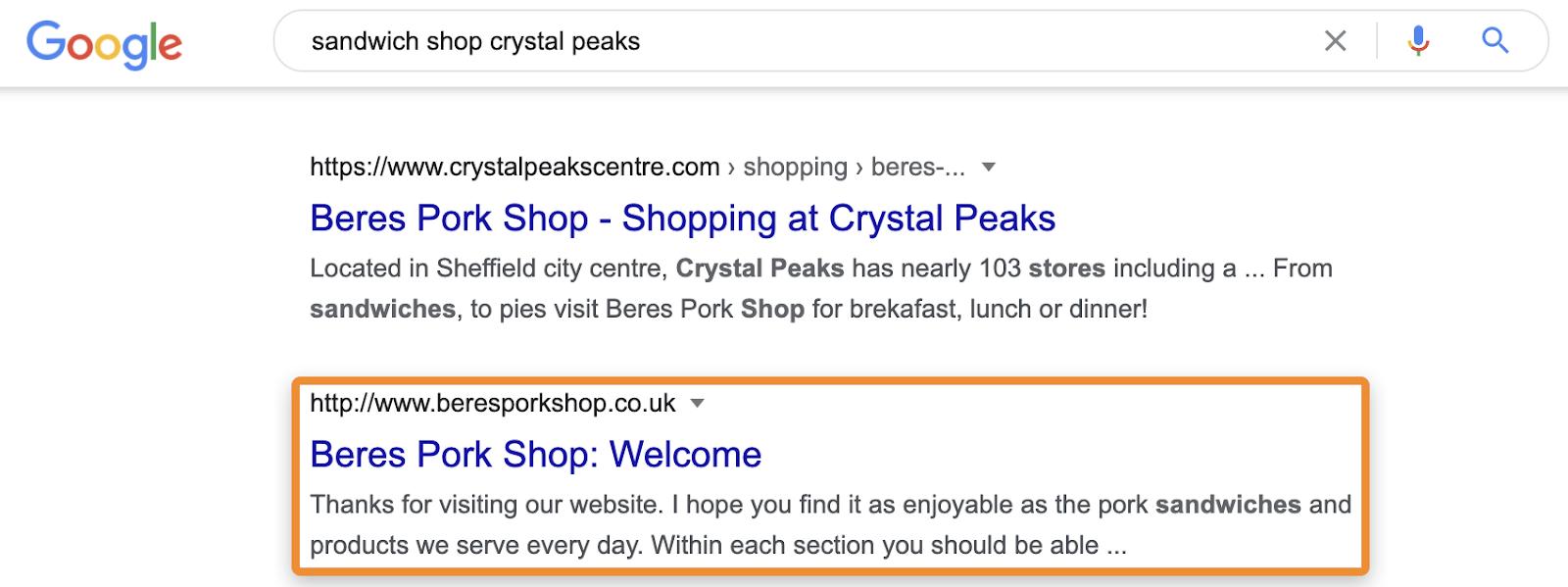18 sandwich shop crystal peaks
