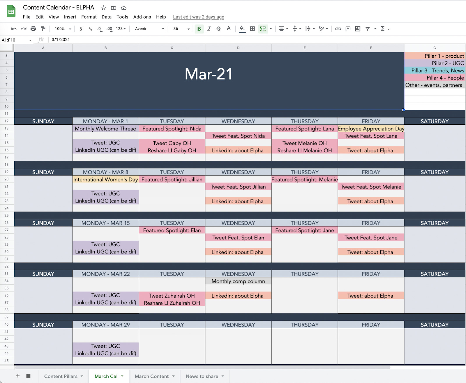 9 color coded content calendar