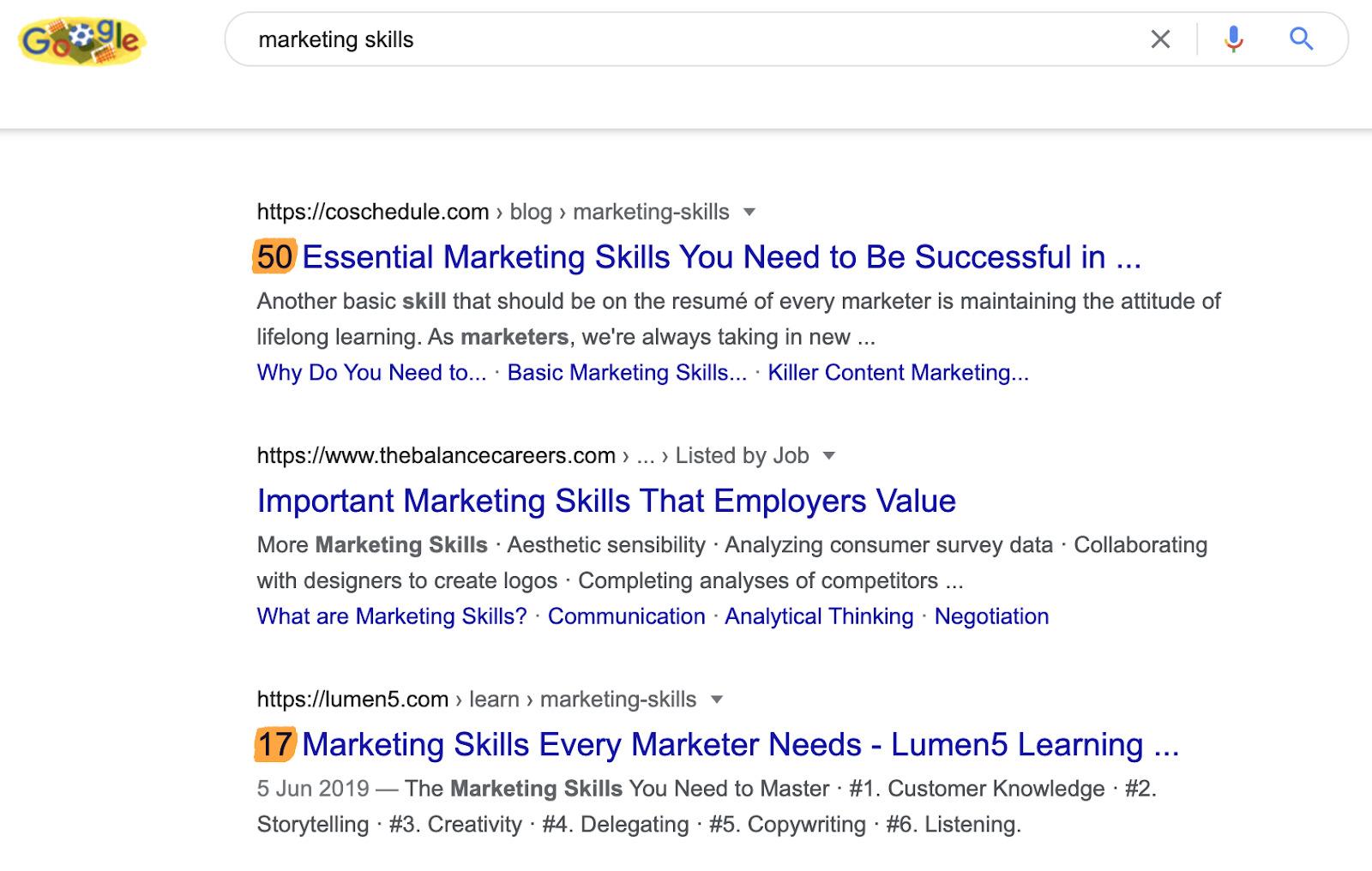 19 marketing skills serps