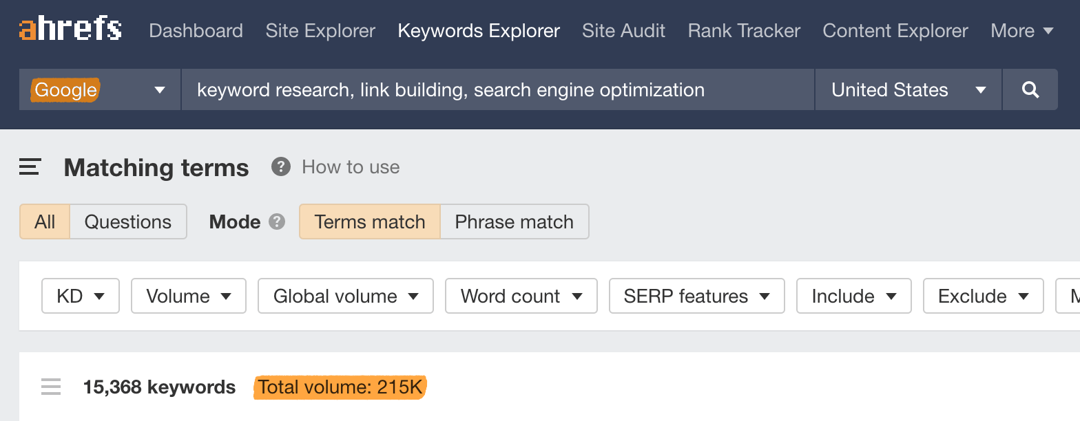 2 google keywords