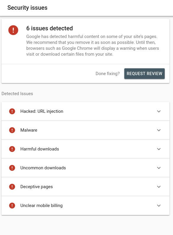 26 security issues google search console